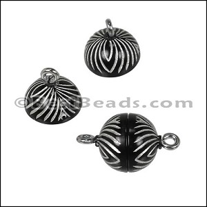 ACRYLIC BEADING magnetic clasp 10mm STRIPE BLACK/SILVER - per 10 pieces