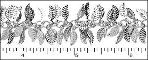 leaf dangles chain RHODIUM - per 25ft spool
