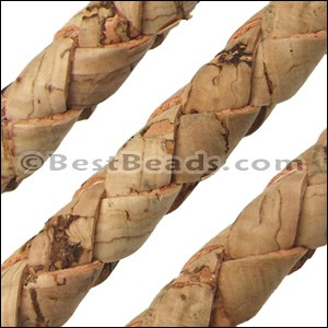 10mm round BRAIDED CORK NATURAL - per 10m SPOOL