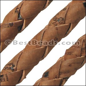 6mm round BRAIDED CORK SADDLE BROWN - per 10m SPOOL