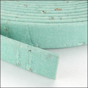 5mm flat CORK PALE TURQUOISE - per 5 meters