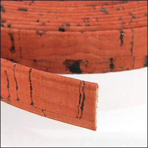 5mm flat CORK ORANGE - per 5 meters