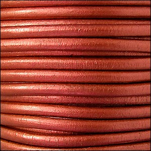 4.5mm round Euro leather METALLIC COPPER - per 10 feet