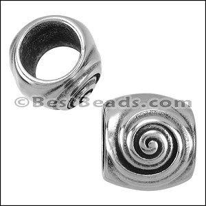10mm round SWIRL bead ANT SILVER - per 10 pieces