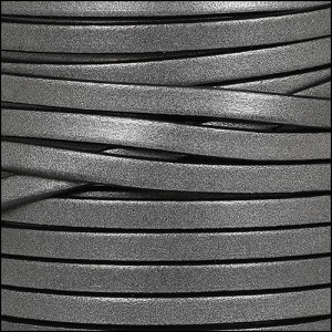 5mm flat leather METALLIC GUNMETAL - per 20m SPOOL