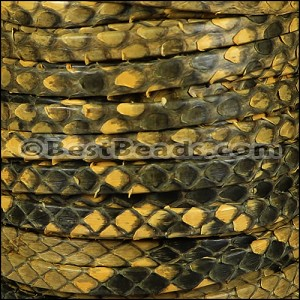 5mm flat PYTHON leather YELLOW - per 10m SPOOL