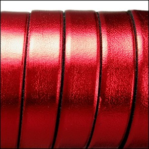 10mm flat ELECTRIC METALLIC leather RED - per 2 meters