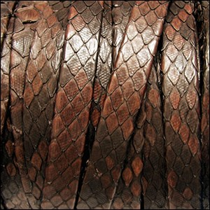 10mm flat PYTHON leather BROWN - per 1 meter