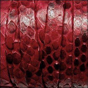 10mm flat PYTHON leather RED - per 1 meter
