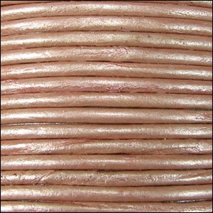 2mm round Indian leather - dusty pink METALLIC - per 25m SPOOL