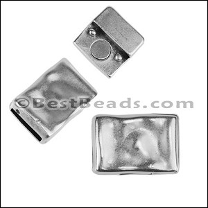 10mm flat RIPPLED RECTANGLE magnetic clasp ANTIQUE SILVER - per 10 clasps