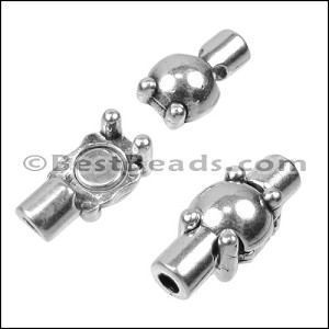 2mm round SPHERE TUBE magnetic clasp ANT. SILVER - per 10 pieces