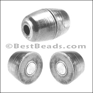 2mm round BARREL magnetic clasp ANT. SILVER - per 10 pieces