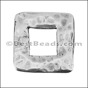 LARGE HAMMERED SQUARE slider ANTIQUE SILVER - per 10 pieces