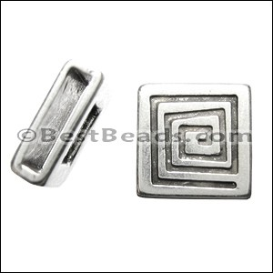 10mm flat SQUARE COIL slider ANT SILVER - per 10 pieces