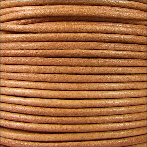 2mm Round Mediterranean Leather NATURAL - per 20m SPOOL