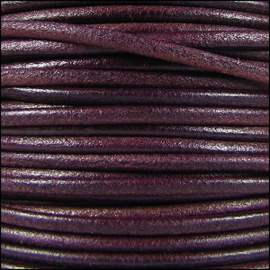 2mm Round Mediterranean Leather PLUM - per 20m SPOOL