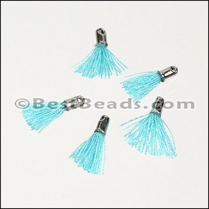 12mm SILVER : BABY BLUE Tassel - per 10 pieces