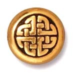 medium celtic circle bead ANTIQUE GOLD tone
