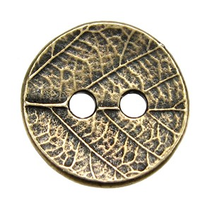 Round Leaf BUTTON BRASS OXIDE tone