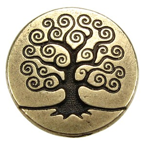 Tree of Life BUTTON BRASS OXIDE tone