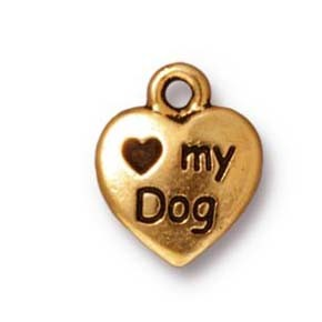 love my dog charm ANTIQUE GOLD