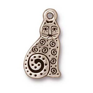 spiral cat charm ANTIQUE SILVER