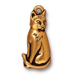 sitting cat charm ANTIQUE GOLD