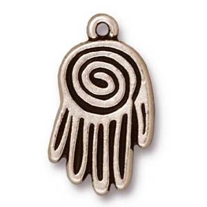 large spiral hand charm ANTIQUE SILVER