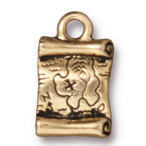 treasure map charm ANTIQUE GOLD