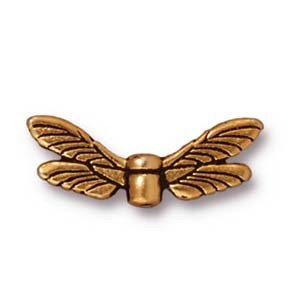 dragonfly wings bead ANTIQUE GOLD tone