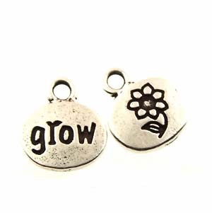 grow GLUE-IN charm ANTIQUE SILVER