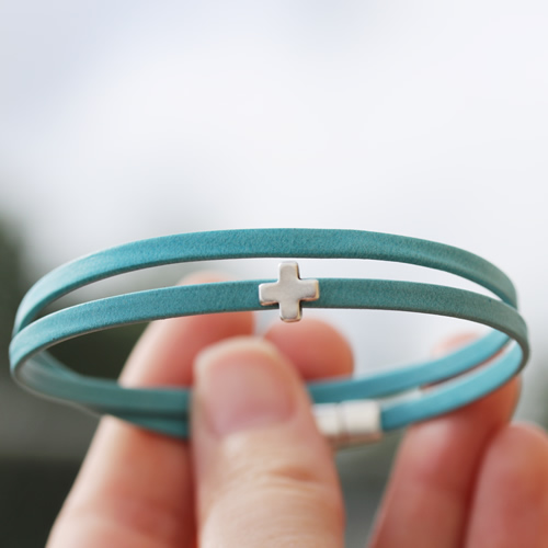 Tiny Blue Cross Bracelet