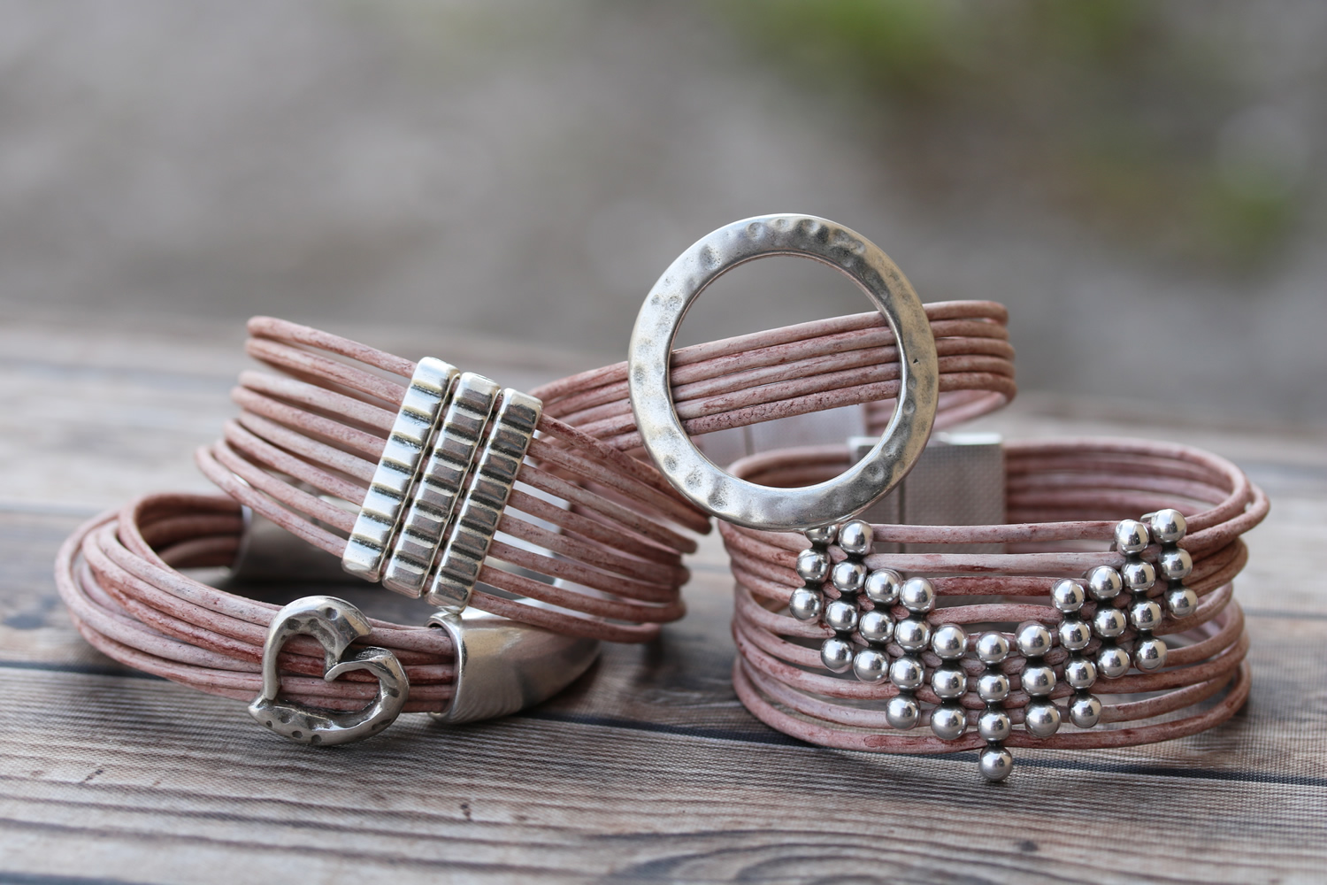 Multi-Strand Leather Bracelets