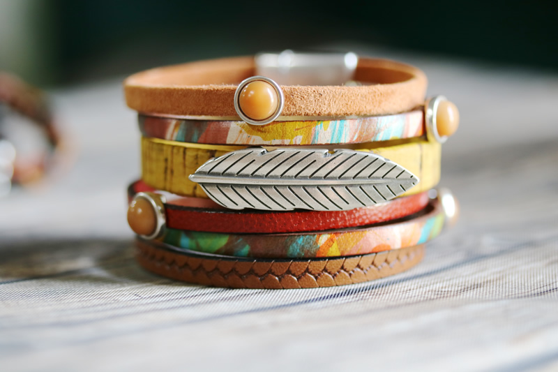 Wide Leather Cuff Bracelets