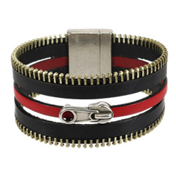 Red and Black Zipper Bracelet