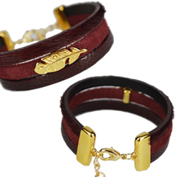15mm Burgundy Leather Bracelet