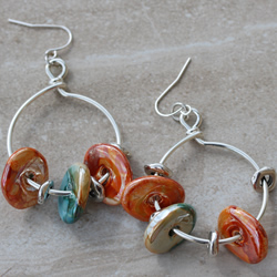 Ceramic Silver Earrings
