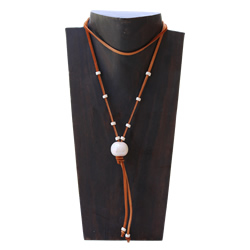 Ceramic Cream Deerskin Necklace