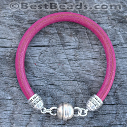 Fuchsia Round Leather Bracelet