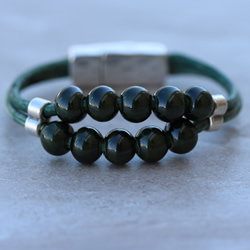 Green Beaded Weathered Bracelet