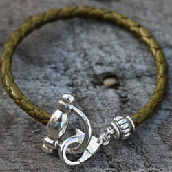 Olive Green Braided Bracelet with Silver