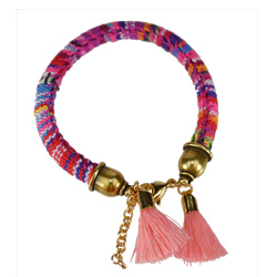 Pink Cotton Bracelet with Tassels