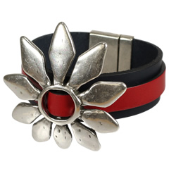 Petal Power Red Black Bracelet