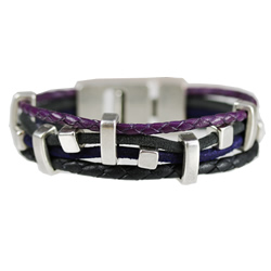 Purple Braided T Latch Bracelet