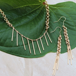 Shiny Gold Double Dangle Set