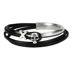 X Skull Leather Bracelet