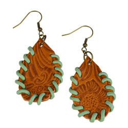 Mint Green Leather Earrings