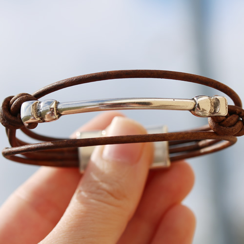 Round Leather Bar Bracelet