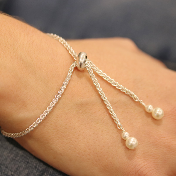 Stopper Bead Pearl Necklace and Bracelet